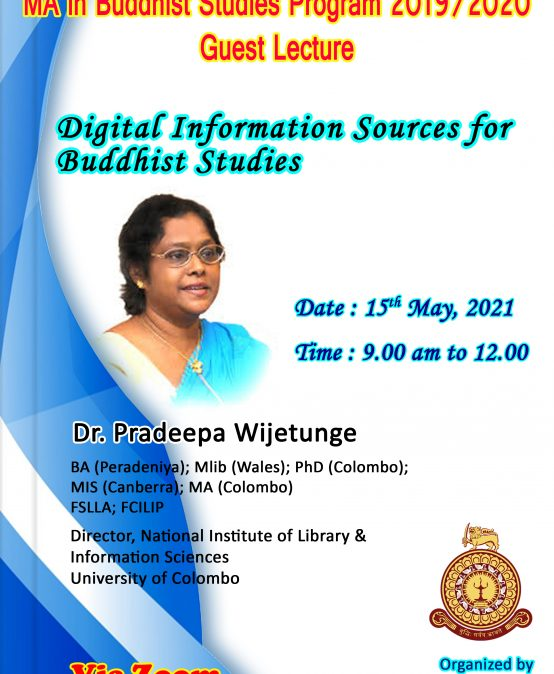 Guest Lecture on 'Digital Information Sources for Buddhist Studies'