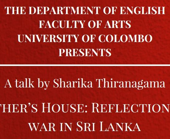 """Talk on """"In My Mother's House: Reflections on Civil War in Sri Lanka"""" – 06th July 2018"""