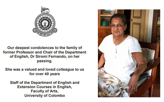 Passing of former Professor Siromi Fernando, former Chair of the Department of English