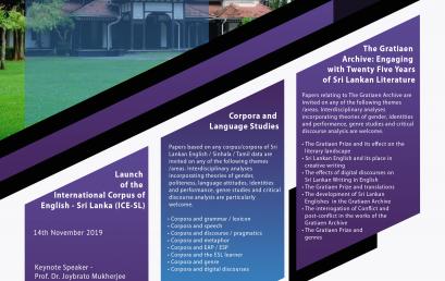 Corpora, Archives & Performance: Sri Lankan Languages and Literature : 14-15 Nov.