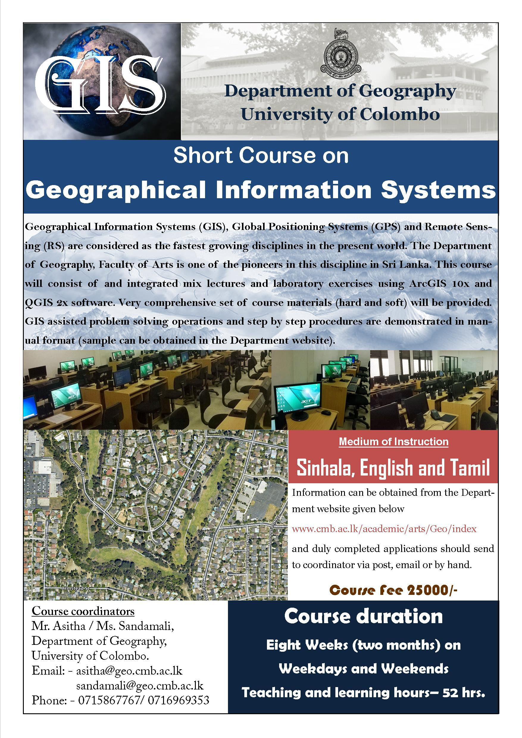 Short Course in Geographical Information Systems (GIS) – 2018