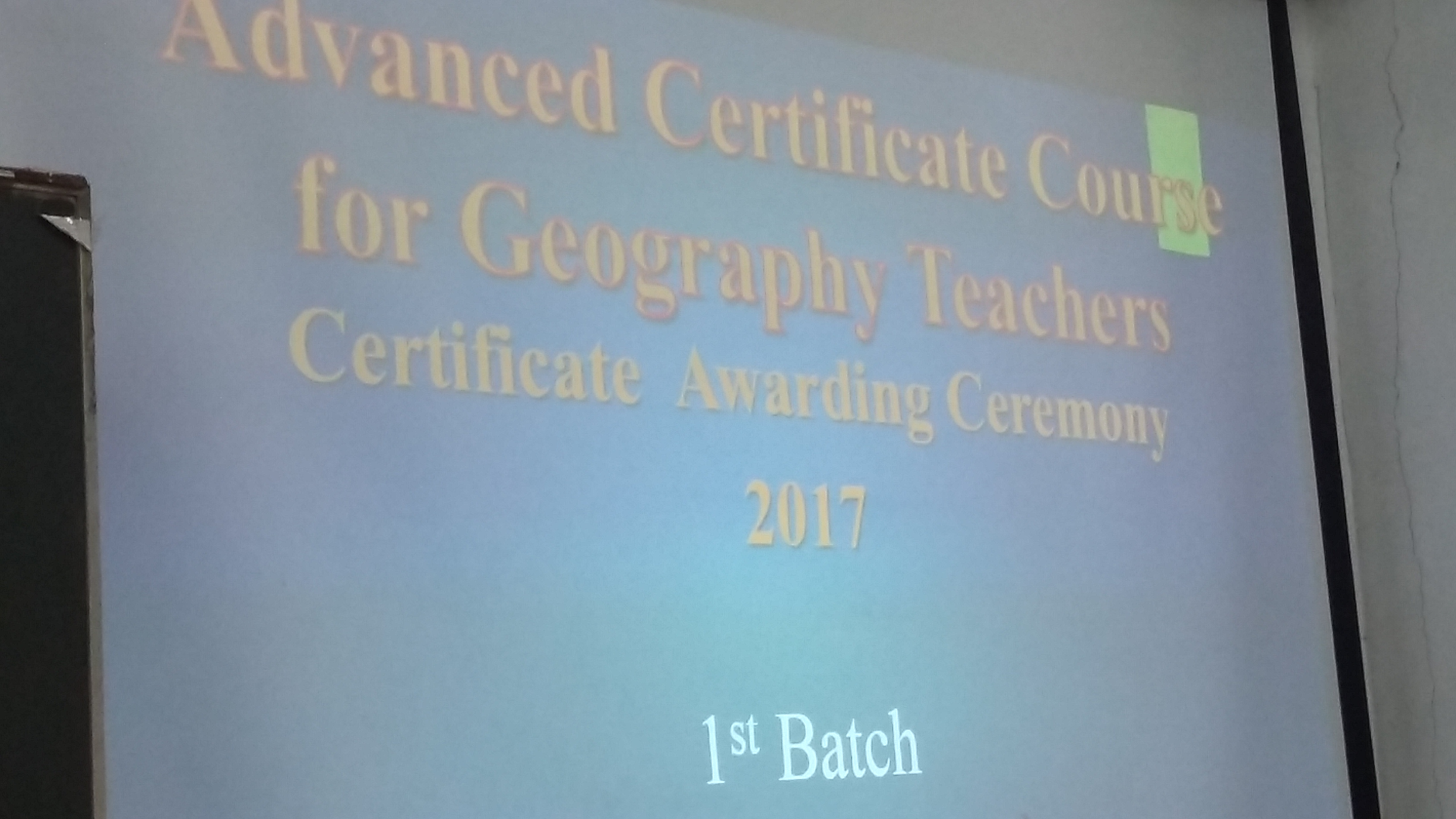 Awarding Ceremony –  Advanced Certificate Course for A/L Geography Teachers – 1st batch