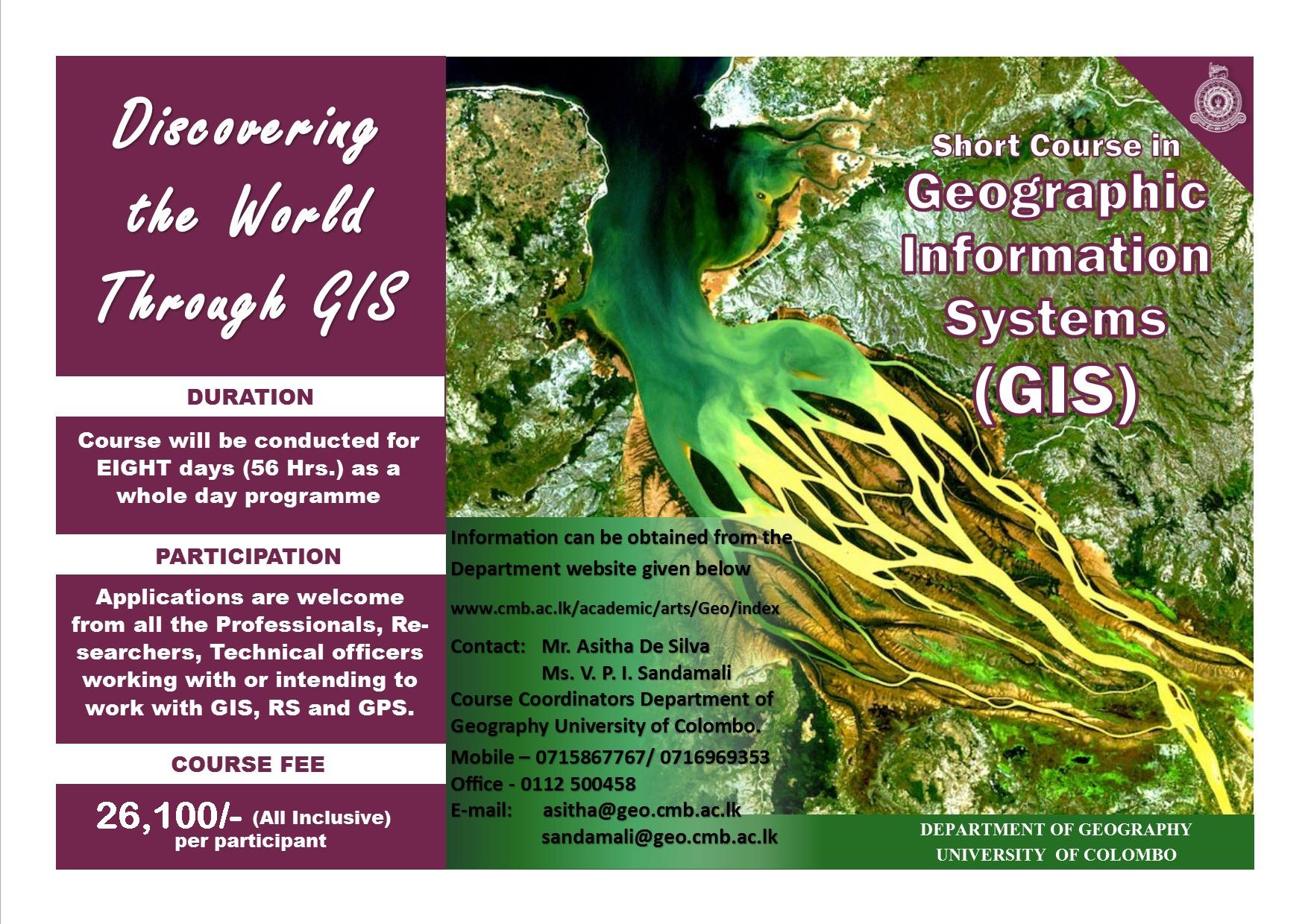 Certificate Course in Geographical Information Systems (GIS) – 2020