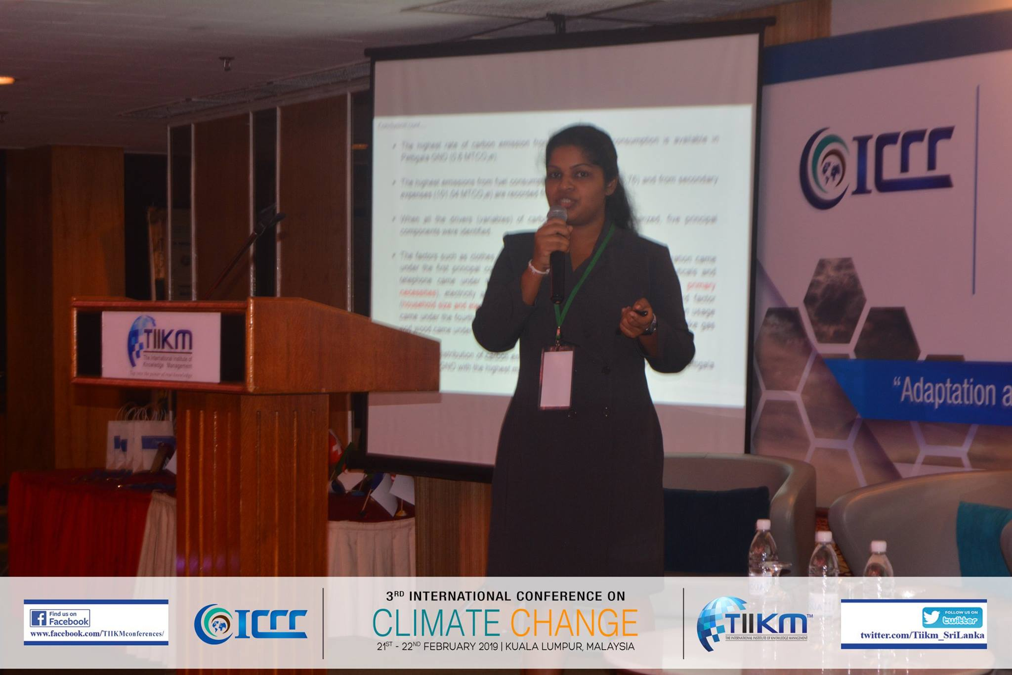 Best Presenter – 3rd International Conference of Climate Change (ICCC 2019) – Ms. K.L.W.I. Gunathilake