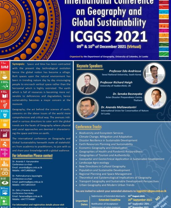 """International Conference on """"Geography and Global Sustainability"""" (ICGGS 2021) 9th – 10th Dec."""