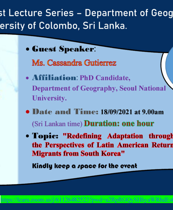 """Guest Lecture on """"Redefining Adaptation through the Perspectives of Latin American Return Migrants from South Korea""""-18th Sept."""