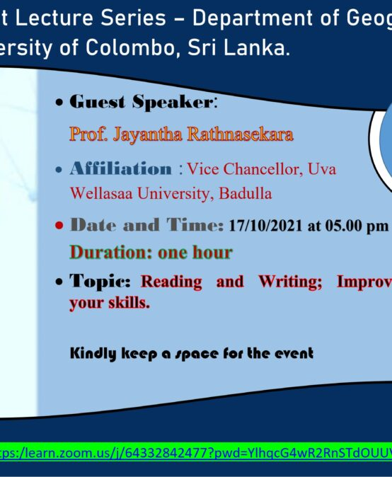 Guest Lecture on 'Reading and Writing ; Improve your skills' – 17th Oct.