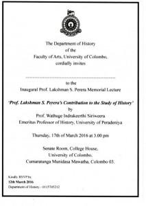 Prof Lakshman S Perera Memorial Lecture Invite