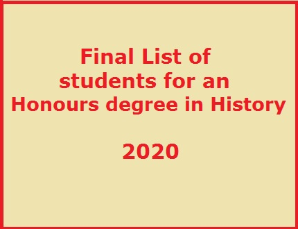 Final list of students selected for an Honours Degree in History – 2020