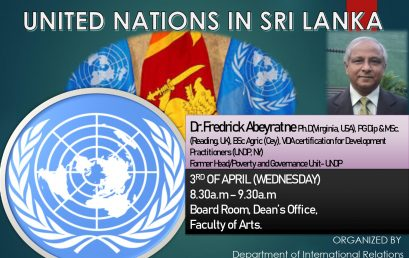 "Guest Lecture on "" United Nations in Sri Lanka"""