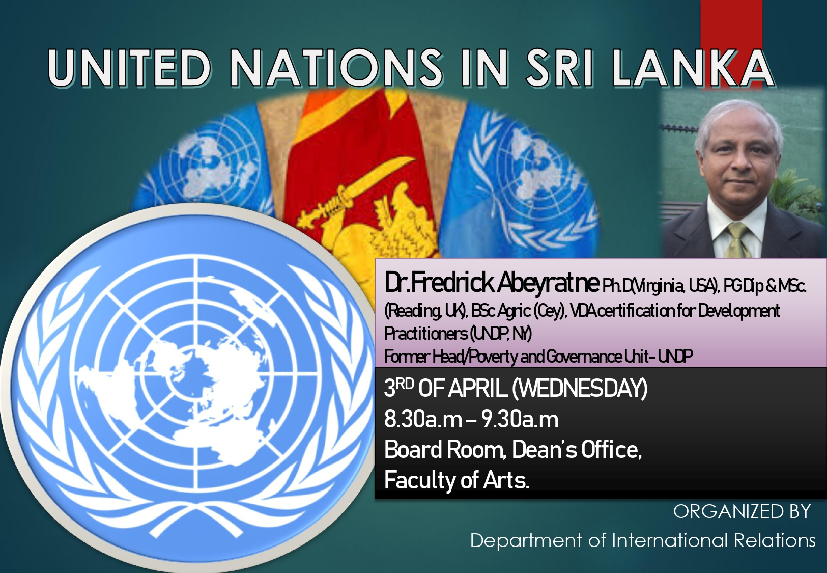 """Guest Lecture on """" United Nations in Sri Lanka"""""""