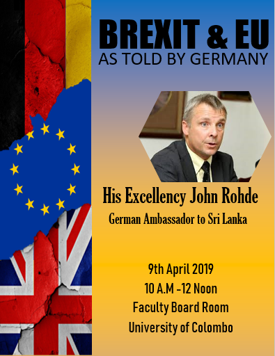 "Guest Lecture on "" Brexit & EU: As Told by Germany"" – 09th April"
