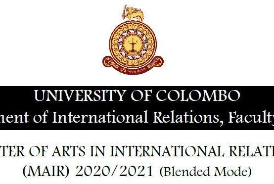 Master of Arts in International Relations (MAIR) 2020/2021 – Extended deadline 16th Nov. 2020