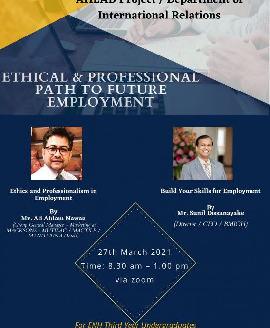 Workshop on Ethical and Professional Path to Employment  – 27th March