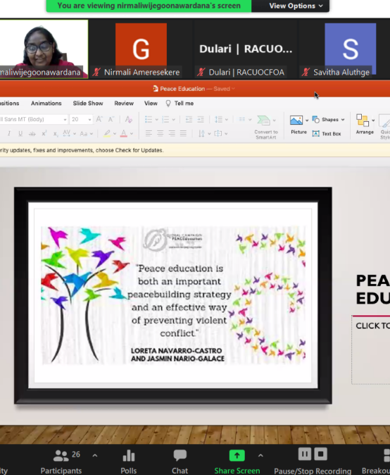 Guest Lecture Series – On Peace Education