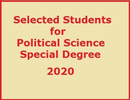 Selected Students for Political Science Special Degree: 2020