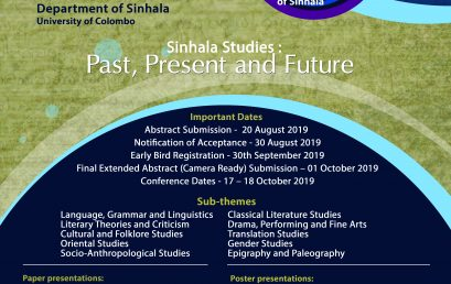 9th Annual Sinhala Studies Symposium 2019 – 17th & 18th Oct.