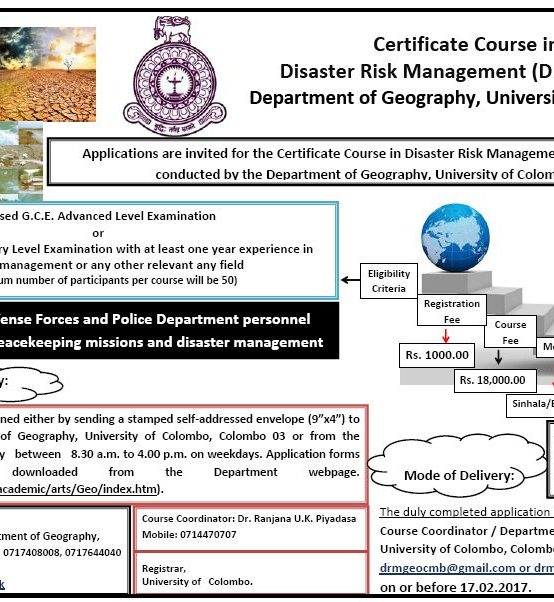 Certificate Course in Disaster Risk Management (DRM) – 2017
