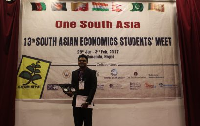 Economics Undergraduate wins the Best Research Paper Award at SAESM – Nepal