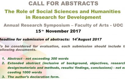Annual Research Symposium – Faculty of Arts – 15th Nov.