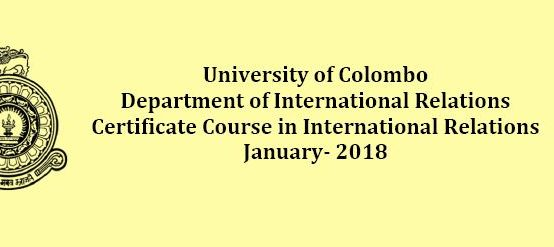 Certificate Course in International Relations – January 2018