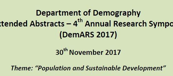 4th Annual Research Symposium – Department of Demography – 30th Nov.