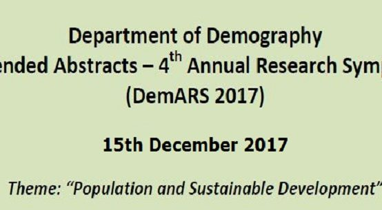 4th Annual Research Symposium – Department of Demography – 15th Dec.