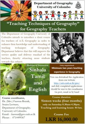 Advanced Certificate Course for Geography Teachers – 2018