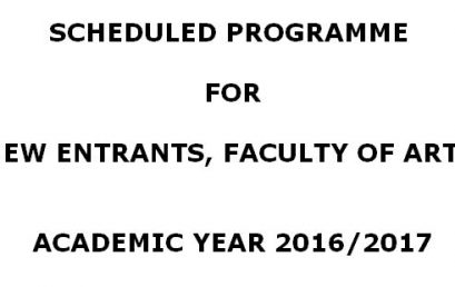 Commencement of Academic Year for New Entrants – 2018
