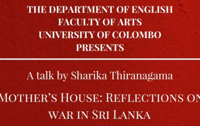 "Talk on ""In My Mother's House: Reflections on Civil War in Sri Lanka"" – 06th July"