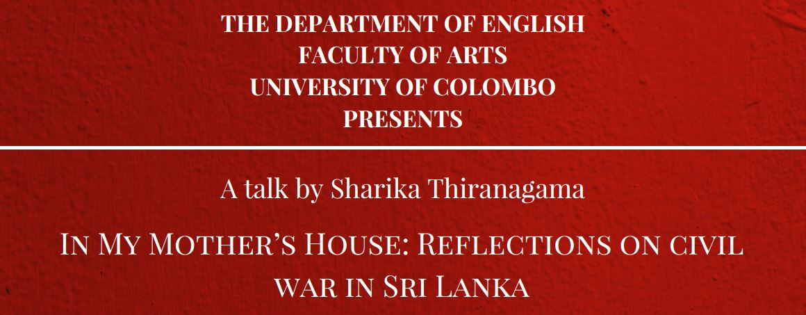 """Talk on """"In My Mother's House: Reflections on Civil War in Sri Lanka"""" – 06th July"""
