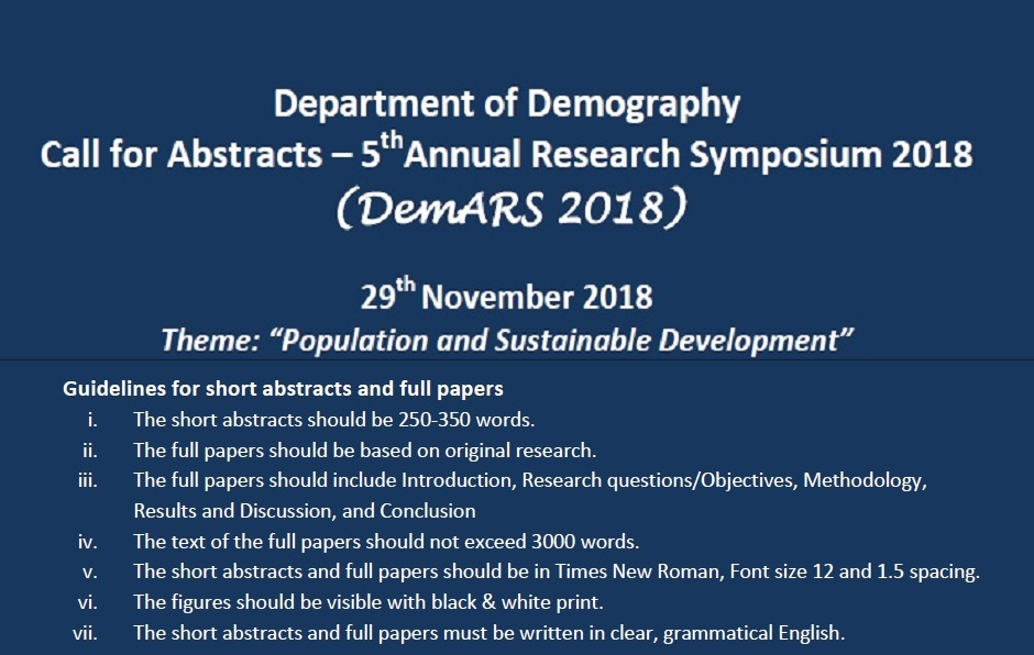 5th Annual Research Symposium 2018 – Department of Demography – 29th Nov.