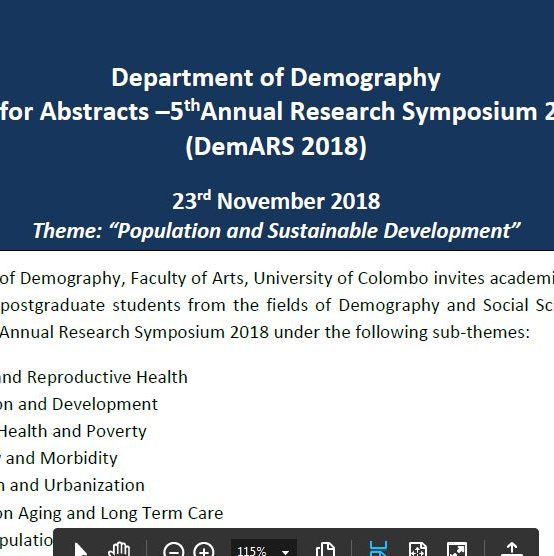 5th Annual Research Symposium 2018 – Department of Demography – 23rd Nov.