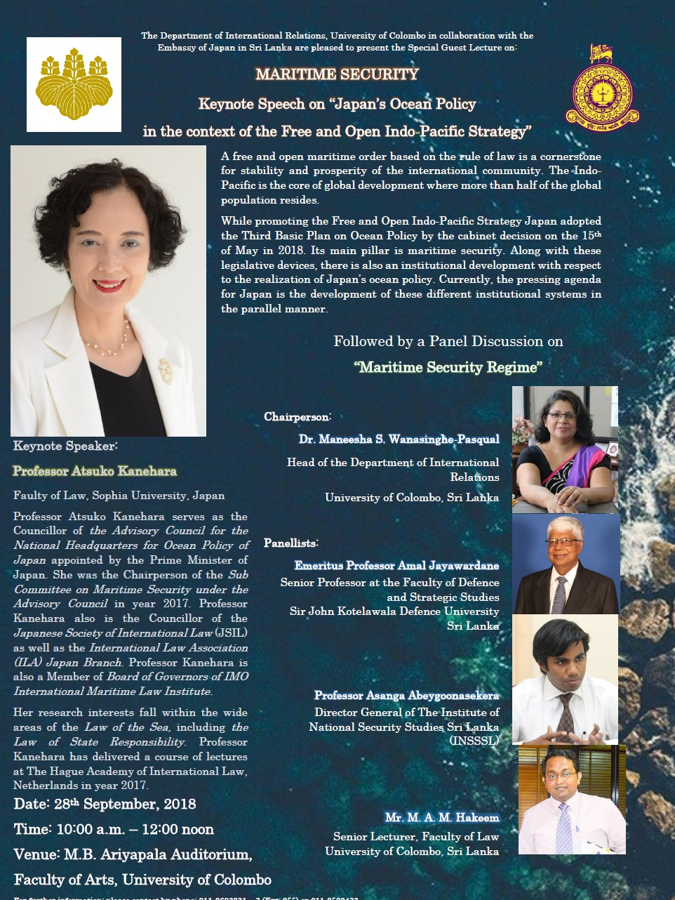 """Guest Lecture and Panel Discussion on """"Maritime Security"""" – 28th Sept."""