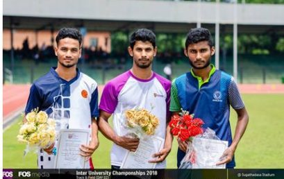 M.S.N. Kumara brings honor to the University – Inter University Championship 2018