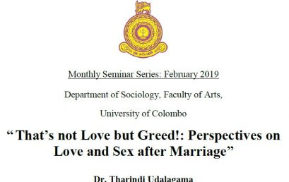 Monthly Seminar, Department of Sociology – 14th Feb.