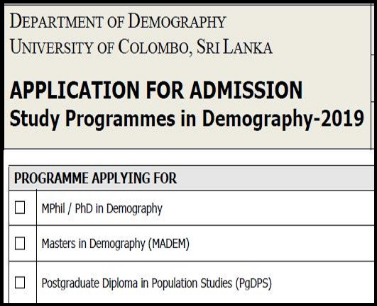 Study Programmes in Demography – 2019
