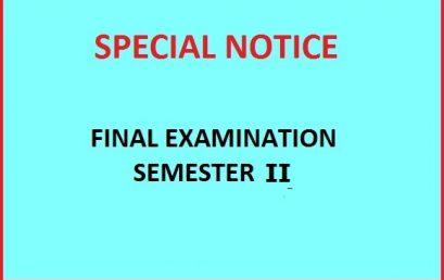 Final Examination Schedule – Semester II – Academic Year 2018/2019