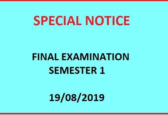 Final Examination Schedule – Semester 1 – Academic Year 2018/2019