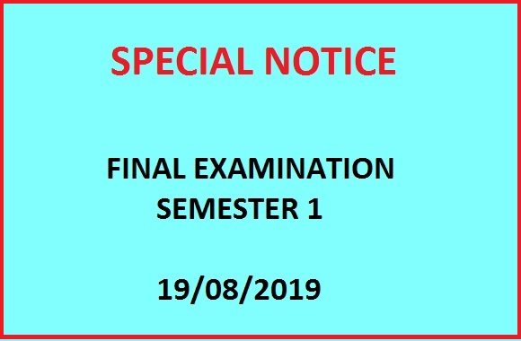 Final Examination Schedule – Semester 1 – Academic Year 2018/2019