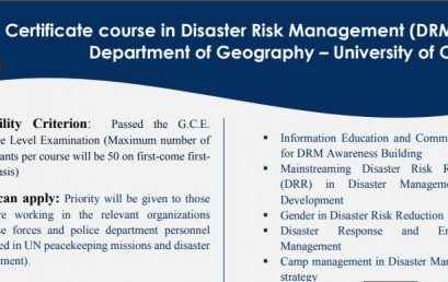 Certificate Course in Disaster Risk Management (DRM) – 2020