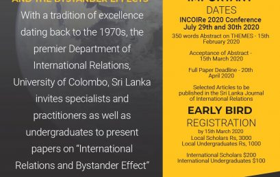 Annual Conference on 'International Relations & the Bystander Effect' : 21st -22nd Nov.