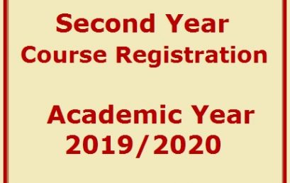 Second Year Course Registration Academic Year 2019/2020