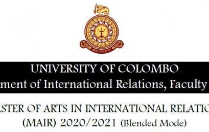 Master of Arts in International Relations (MAIR) 2020/2021 – Extended deadline 30th Nov. 2020