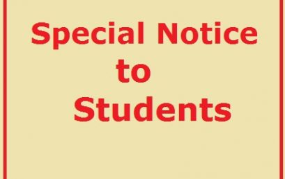 Special Notice to Students