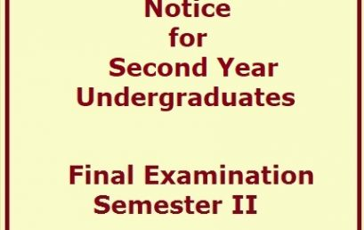 Notice for Second Year Undergraduates – Final Examination -Semester II