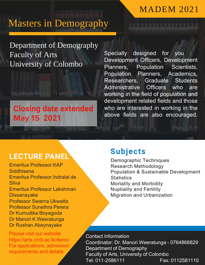 Study Programmes in Demography – 2021