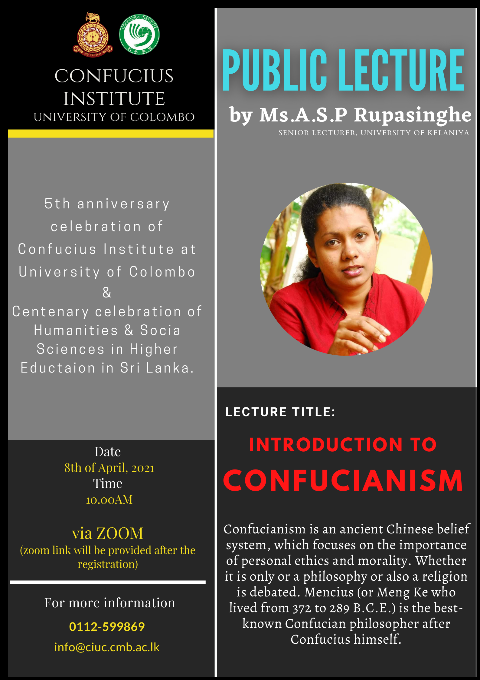 "The First Lecture of Public Lecture Series – ""INTRODUCTION TO CONFUCIANISM"" – 08th April"