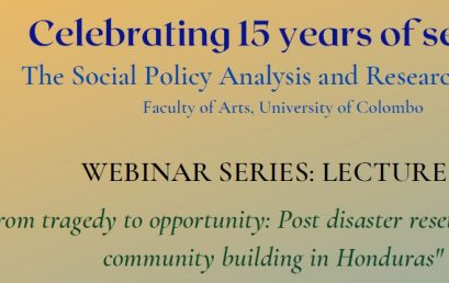"Webinar Series – Lecture 2 – ""From tragedy to opportunity"" -30th April"