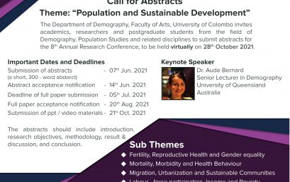 8th Annual Research Conference – (DemARS 2021 ) – 28th Oct. 2021